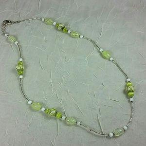 Lime green Artisan glass bead necklace 24""